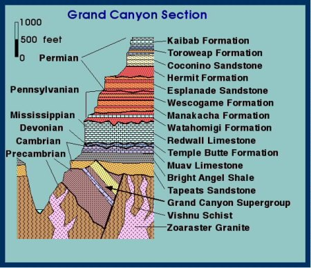The stratigraphic sequence of the Grand Canyon.