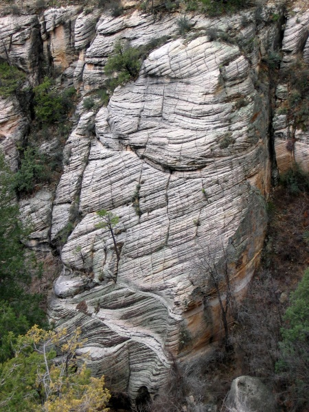 Crossbeds at Walnut canyon are essentially fossilized sand dunes from when Arizona was a coastal desert. The direction that the layers are tilted tells us that the prevailing winds blew from north to south.